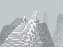 caráter 3d cúbico sobre a montanha ilustração do vetor