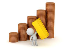caráter 3D com as pilhas de moedas e de barra de ouro Imagens de Stock