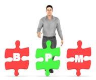 caráter 3d, homem e três deles que guardam cada serra de vaivém com alfabetos b da letra, p e m nele - conceito do bpm ilustração stock