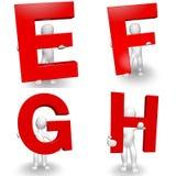 caráter 3D humano que guarda a letra vermelha E, F, G, H, Foto de Stock