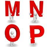 caráter 3D humano que guarda a letra vermelha M, N, O, P Fotografia de Stock