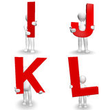 caráter 3D humano que guarda a letra vermelha mim, J, K, L, Imagens de Stock Royalty Free