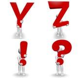 caráter 3D humano que guarda a letra vermelha Y, Z! ? Imagem de Stock Royalty Free