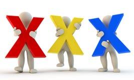 caráter 3D humano que guarda letras xxx ilustração do vetor