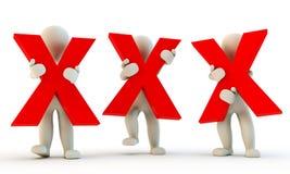 caráter 3D humano que guarda letras xxx Fotografia de Stock