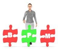 caráter 3d, mulher e três deles que guardam cada serra de vaivém com alfabetos b da letra, p e m nele - conceito do bpm ilustração stock