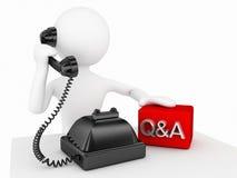 caráter 3d que fala com o conceito do telefone Imagens de Stock Royalty Free
