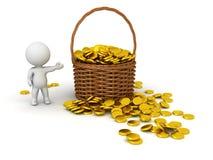 caráter 3D que mostra a cesta de vime com moedas de ouro Fotos de Stock