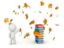 caráter 3D que mostra livros e Autumn Leaves - de volta à escola Fotografia de Stock Royalty Free