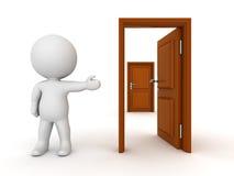 caráter 3D que mostra a porta fechado atrás do estar aberto Fotos de Stock