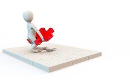 caráter 3D que resolve o problema Imagens de Stock