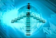 caráter 3d que vai sobre a ilustração de quatro vias das escadas Imagem de Stock Royalty Free