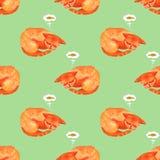 Caráter da aquarela do sono bonito e do sonho do gato sobre um peixe ilustração stock