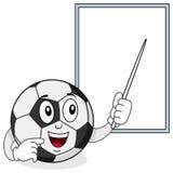 Caráter da bola de futebol e placa branca Imagem de Stock Royalty Free