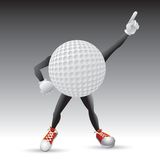 Caráter da esfera de golfe que golpeia um pose Imagem de Stock Royalty Free
