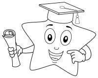 Caráter da estrela da coloração com chapéu da graduação ilustração stock