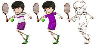 Caráter da garatuja para o jogador de tênis masculino ilustração do vetor