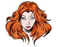 Caráter da ilustração da menina dos desenhos animados do ruivo olhar fixamente Fotos de Stock