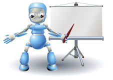 Caráter da mascote do robô que apresenta na tela do rolo Imagens de Stock