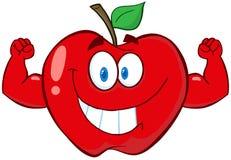 Caráter da mascote dos desenhos animados de Apple com braços do músculo Fotografia de Stock