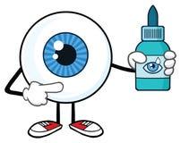 Caráter da mascote dos desenhos animados do globo ocular que guarda uma garrafa do plástico das gotas de olho ilustração stock