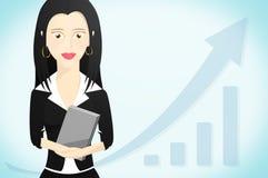 Caráter da mulher de negócio vestido formalmente e que guarda um livro ilustração do vetor