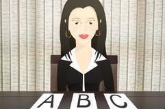 Caráter da mulher de negócio vestido formalmente e que guarda um livro com a mão estendido que aponta à direita Fotos de Stock
