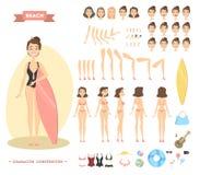 Caráter da mulher na praia ilustração royalty free