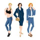 Caráter da mulher na roupa diferente para o escritório e diário ilustração do vetor