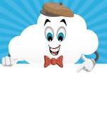 Caráter da nuvem dos desenhos animados do divertimento que olha uma página branca vazia Fotos de Stock