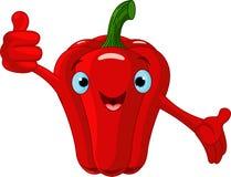 Caráter da pimenta que dá os polegares acima Foto de Stock
