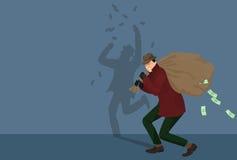 Caráter da pirataria do ladrão com saco do dinheiro Ilustração de Vectot Imagens de Stock Royalty Free
