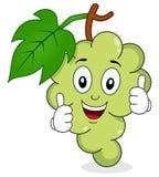 Caráter das uvas brancas com polegares acima Imagem de Stock Royalty Free