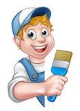 Caráter de Decorator Handyman Cartoon do pintor Imagem de Stock Royalty Free