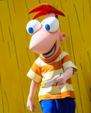 Caráter de Disney Phineas em estúdios de Hollywood, Orlando, FL Imagens de Stock Royalty Free