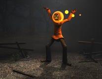 Caráter de Halloween do homem da abóbora Fotografia de Stock