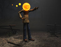 Caráter de Halloween do homem da abóbora Fotos de Stock Royalty Free