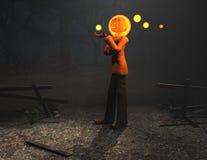 Caráter de Halloween do homem da abóbora Foto de Stock