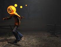 Caráter de Halloween do homem da abóbora Fotos de Stock