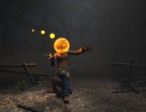 Caráter de Halloween do homem da abóbora Imagens de Stock
