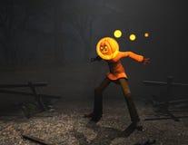 Caráter de Halloween do homem da abóbora Fotografia de Stock Royalty Free