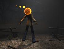 Caráter de Halloween do homem da abóbora Imagens de Stock Royalty Free