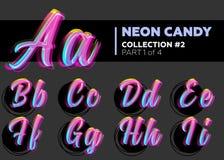 Caráter de néon do vetor Typeset Letras de incandescência na obscuridade Fotografia de Stock Royalty Free
