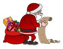 Caráter de Santa Claus dos desenhos animados com um presente isolado Fotografia de Stock Royalty Free