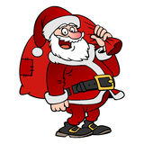 Caráter de Santa Claus dos desenhos animados com um saco isolado Foto de Stock