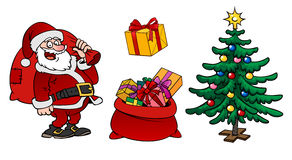 Caráter de Santa Claus, um saco com presentes e isola da árvore de Natal Fotos de Stock Royalty Free