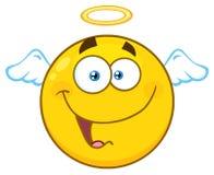 Caráter de sorriso de Angel Yellow Cartoon Emoji Face com expressão feliz ilustração royalty free