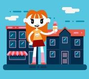 Caráter de sorriso feliz da menina dos desenhos animados do totó do moderno Imagens de Stock