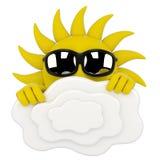 Caráter de Sun - escondendo atrás das nuvens ilustração do vetor