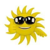 Caráter de Sun - polegares acima ilustração stock